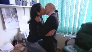 Hot lesbians kissing in office