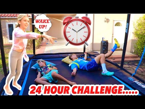 24 HOUR CHALLENGE ON THE TRAMPOLINE WITH GAVIN MAGNUS AND COCO QUINN HIS CRUSH