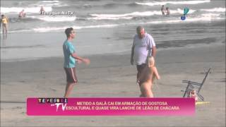 Talita Cogo pegadinha na praia