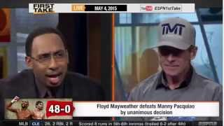 ESPN First Take   Floyd Mayweather Defeats Manny Pacquiao   Skip Bayless Gets Angry