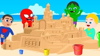 SUPERHERO BABIES MAKE A GIANT CASTLE ❤ Frozen Elsa Play Doh Cartoons For Kids ❤ Stop Motion Movies