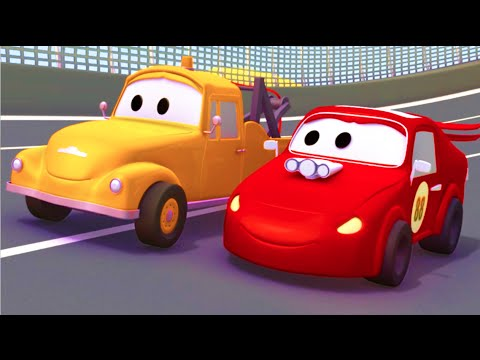 Racing car and Tom the Tow Truck Cars & Trucks construction cartoon for children