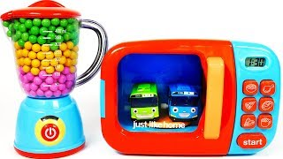Little Bus Big Bus Toys for Children Learn Colors with Microwave Kitchen Toy Appliance Playset for K
