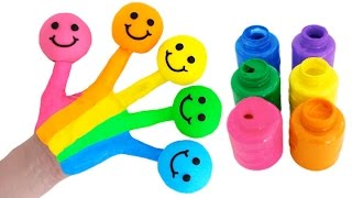 Learn Colors Body Paint with Play Doh Smiley Faces & Finger Family Nursery Rhymes