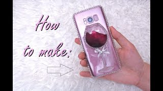 DIY LIQUID WINE GLASS PHONE CASE / HOW TO MAKE RESIN WINE GLASS CASE