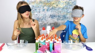 MAKING SLIME BLINDFOLDED!!!