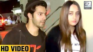 Varun Dhawan & Girlfriend Natasha Dalal Watch 'Judwaa 2' Trailer Together I Lehren TV