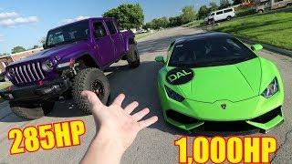 Drag Racing 1,000HP Twin Turbo Huracan vs. Jeep Gladiator!