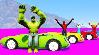 Learn COLORS SUPERHEROES CARS JUMPING Cartoon for kids /w Spiderman for babies