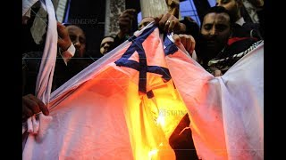 EGYPT || Furious Egyptian protesters burn Israeli flags