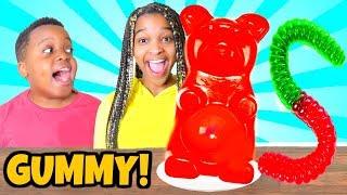 GUMMY FOOD vs REAL FOOD Challenge!!! - Shiloh and Shasha - Onyx Kids