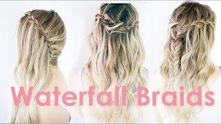3 Ways to Waterfall Braid Hairstyle Tutorial - KayleyMelissa