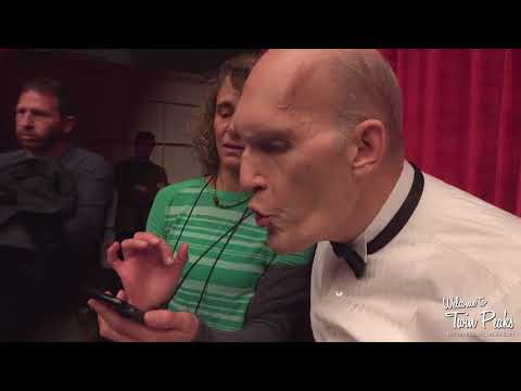 Carel Struycken (The Fireman) rehearses a backwards line on the Twin Peaks set