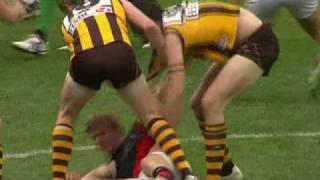 AFL: Essendon Vs. Hawthorn Round 22, Matthew Lloyd clash with Brad Sewell