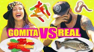 COMIDA DE GOMA VS REAL! Gusanos oh no! RETO SandraCiresArt