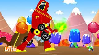 Red Super Car vs Angry Ostrich Chasing Kids   Cars Cartoon Songs & Rhymes