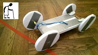 No Glue Polystyrene Rubber Band Powered Car