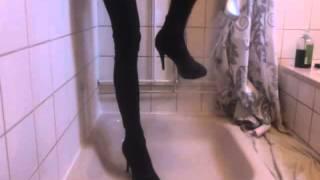 Shower in heels and leggings