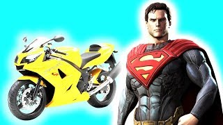 Learn Color BMX & Motorcycles Superheroes Race Cartoon 3D Animation for Children and Babies kids