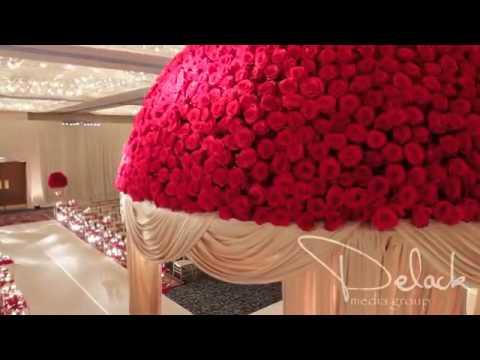 Roshni & Palak Red Rose Mandap Indian Wedding Decoration by Yanni Design Studio
