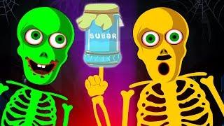 Halloween Songs - Johny Johny Yes Papa With Skeletons | Funny Skeletons Halloween Songs