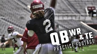 Alabama QBs Jalen Hurts, Tua Tagovailoa take reps with the WRs and TEs before Saturday