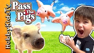 Pass The Pig Game with Our Pig! Surprise Toy Fun, Who Wins? HobbyKidsTV