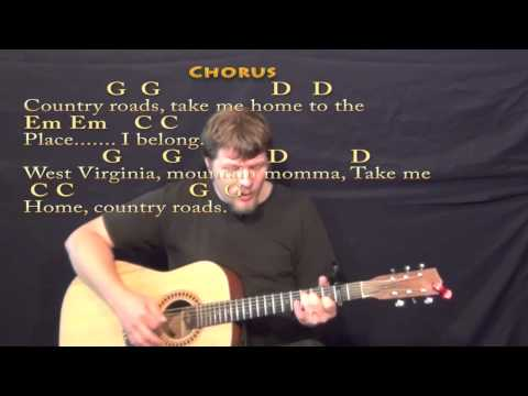 Country Roads (John Denver) Strum Guitar Cover Lesson with LyricsChords