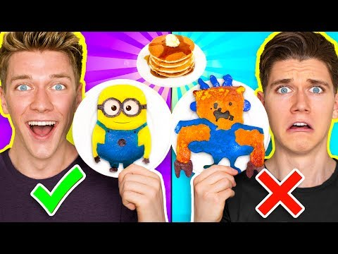 PANCAKE ART CHALLENGE Learn How To Make Minions Spiderman & Fidget Spinner out of DIY Pancake