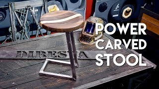 Power Carved Walnut and Steel Bar Stool / Shop Stool Build | FABTECH 2017 - Woodworking