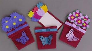 DIY FLOWER POT CARD / HANDMADE GREETING CARD MAKING IDEAS