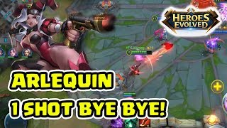 1 Hit Bye2 Coy! Arlequin Full Damage Bener2 Amazing! - Heroes Evolved Indonesia