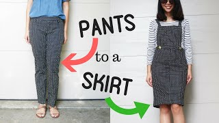 DIY: TROUSER TO OVERALL/BIB DRESS REFASHION || How to Transform Old Clothes