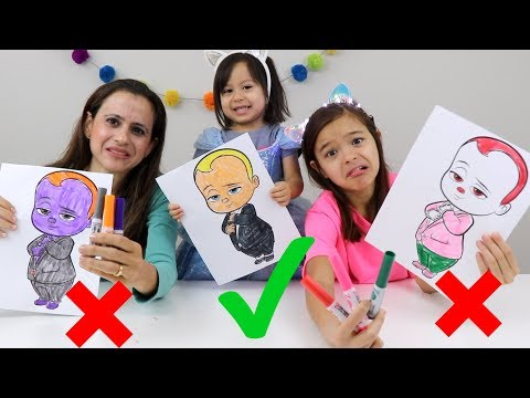 DESAFIO COLORINDO COM 3 CORES!!!! (3 MARKER CHALLENGE!! ) Lol, Minions e Poderoso Chefinho!!!