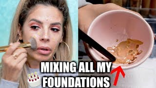 MIXING ALL MY FOUNDATIONS TOGETHER   SHOOK AT THE OUTCOME!