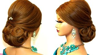 Hairstyle for long hair. Bridal updo tutorial
