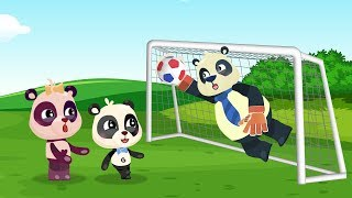 Daddy Panda Goalkeeper. Baby Pandas Play Football Cartoon