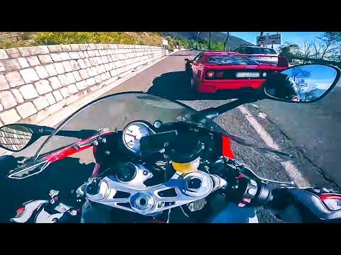 Ferrari F40 vs MaxWrist BMW S1000RR Mountain Road Street Race Supercar vs Superbike