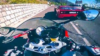Ferrari F40 vs MaxWrist BMW S1000RR - Mountain Road Street Race Supercar vs Superbike