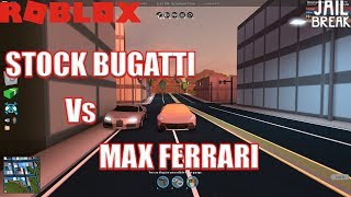 MAX Ferrari vs STOCK Bugatti | Vehicle Speed Test | Roblox Jailbreak