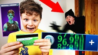 SPYING on my LITTLE BROTHER for 24 HOURS!! **caught spending v-bucks on my credit card**