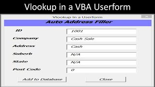 Excel VBA Userform with Vlookup