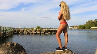 Girl Inshore Florida Saltwater Fishing for Snook and Big Jacks GoPro Video
