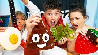 REAL FOOD VS GUMMY FOOD!! *Eating GROSS GIANT Candy Challenge* - Best Gross Real Worm Candy