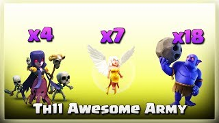 7 Healer+ 4 Witch+ 18 Bowler= TH11 Awesome ARMY | TH11 War Strategy #264 | COC 2018 |