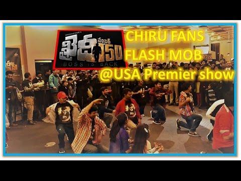 watch Flashmob by Chiru Fans at Khaidi No 150 Premier show in USA