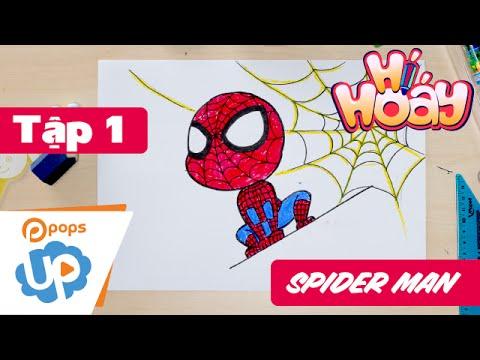 Hướng Dẫn Vẽ Spider Man - Tập 1 - Hí Hoáy - How To Draw Spider Man - POPS Up