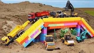 รถของเล่นก่อสร้างทำสะพาน รถแม็คโคร รถบรรทุกดิน รถแทรกเตอร์ รถบดถนน รถเกรด