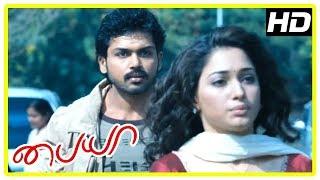 Karthi New Movie 2017   Karthi helps Tamanna hide   Paiya Tamil Movie Scenes   Tamannah