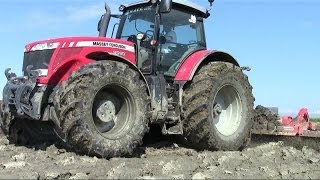 THE RED POWER! - MF 8690 - Rice HARROWING in MUD - MASCHIO 7 m